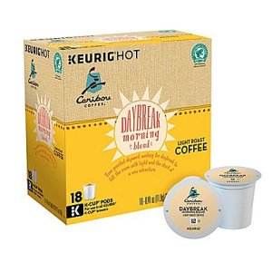 Caribou Daybreak Morning Blend Light Roast Coffee, 18 K Cups Keurig