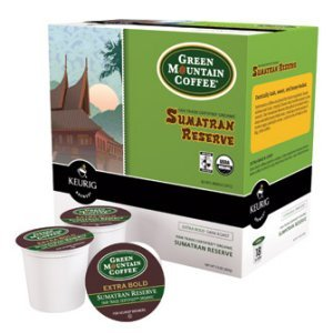 Green Mountain Sumatran Reserve Dark Roast, 18 K Cups Keurig